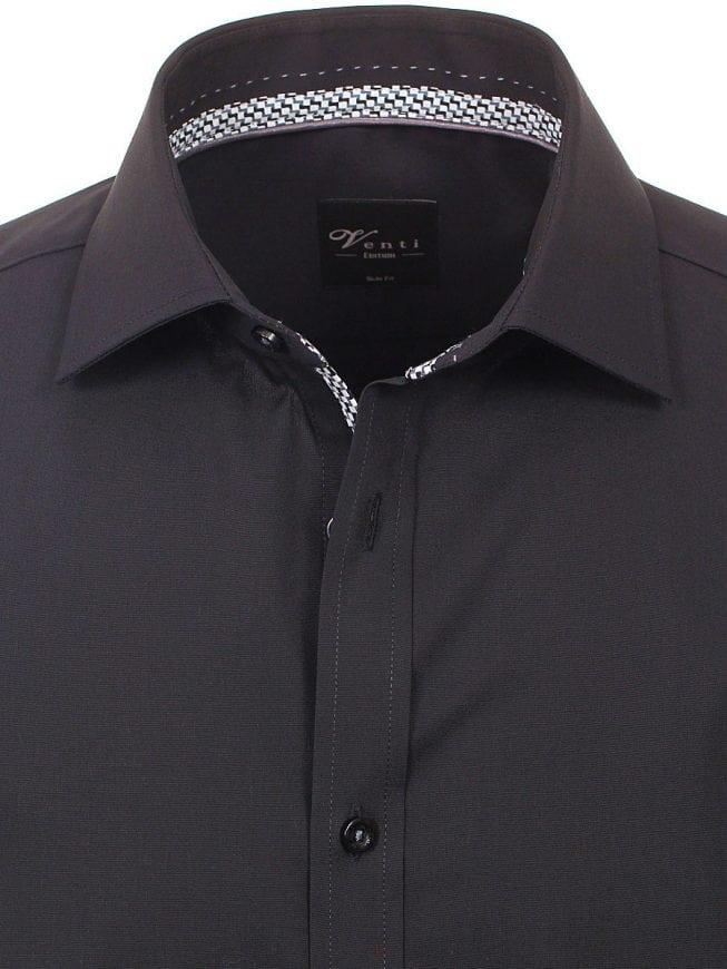 Heren Overhemd Zwart.Venti Heren Overhemd Zwart Strijkvrij Slim Fit Poplin 183054800