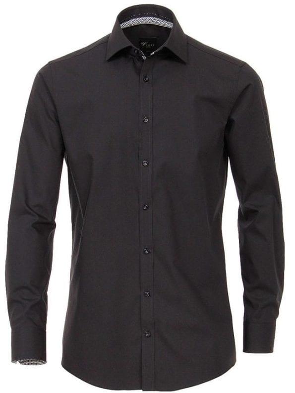 Venti heren overhemden zwart lange mouw kent kraag slim fit 183054800 800 voorkant 1