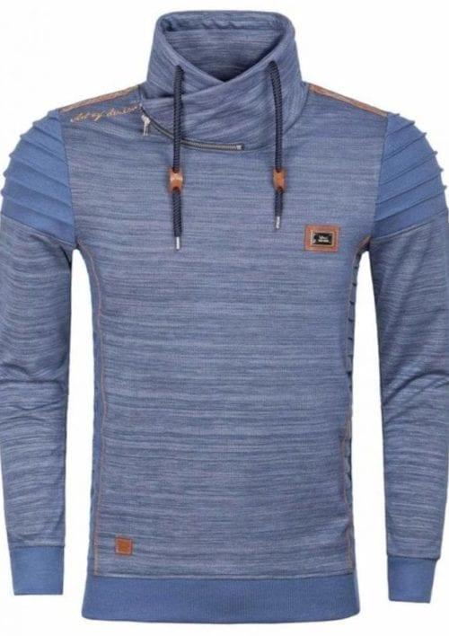 Wam Denim blauwe heren trui met hoge kraag sjaalkraag trui Fargo 76190 1