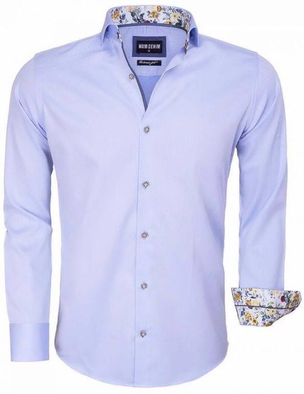 Wam Denim heren overhemd blauw bloemtjes motief 100 procent katoen 75542 1