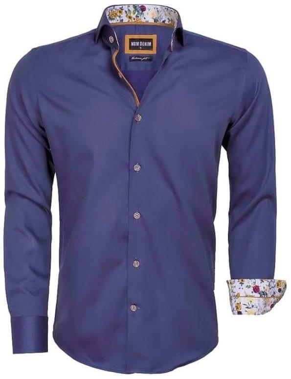 Wam Denim heren overhemd grijs bloemtjes motief 100 procent katoen 75542 2
