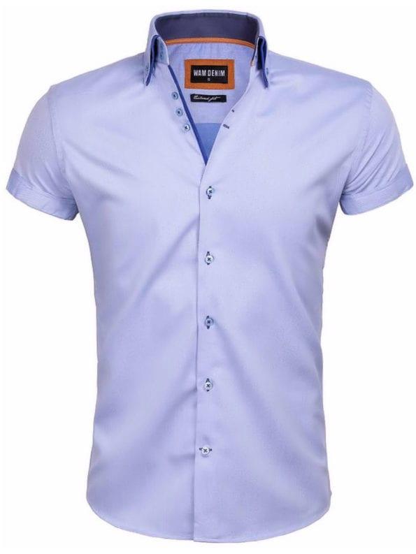 Wam Denim heren overhemd korte mouw blauw dubbele boord Novara 75557 voorkant