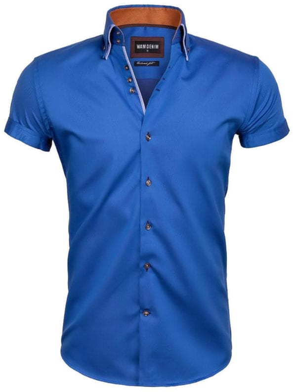 Slim fit overhemden korte mouw blauw dubbele boord Wam Denim