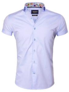 Wam Denim heren overhemd korte mouw lichtblauw bloemetjes motief Monza 75555 voorkant 1