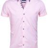 Wam Denim heren overhemd korte mouw roze dubbele boord Novara 75557 voorkant