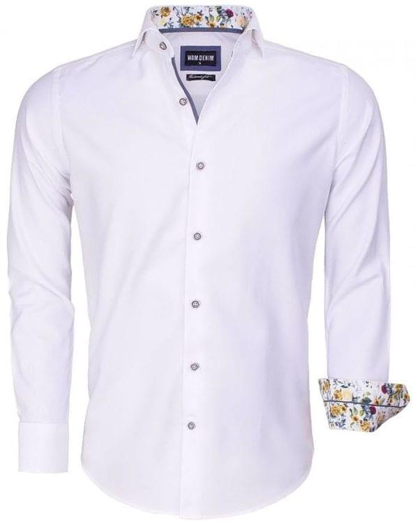 Wam Denim heren overhemd wit bloemtjes motief 100 procent katoen 75542 2