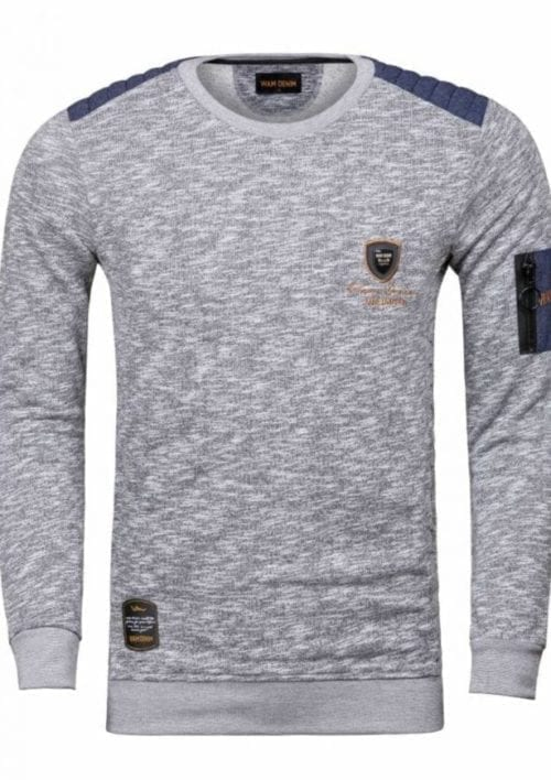 Wam Denim heren sweater ronde hals Haderson zwart 76191 voorkant