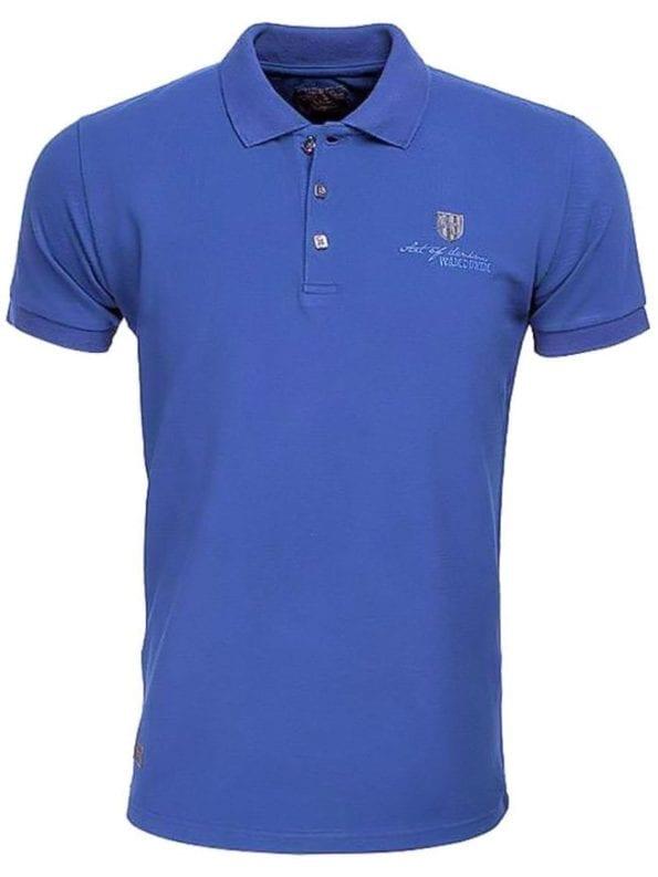 Wam Denim poloshirt blauw met stretch effen met logo 79325 2 1