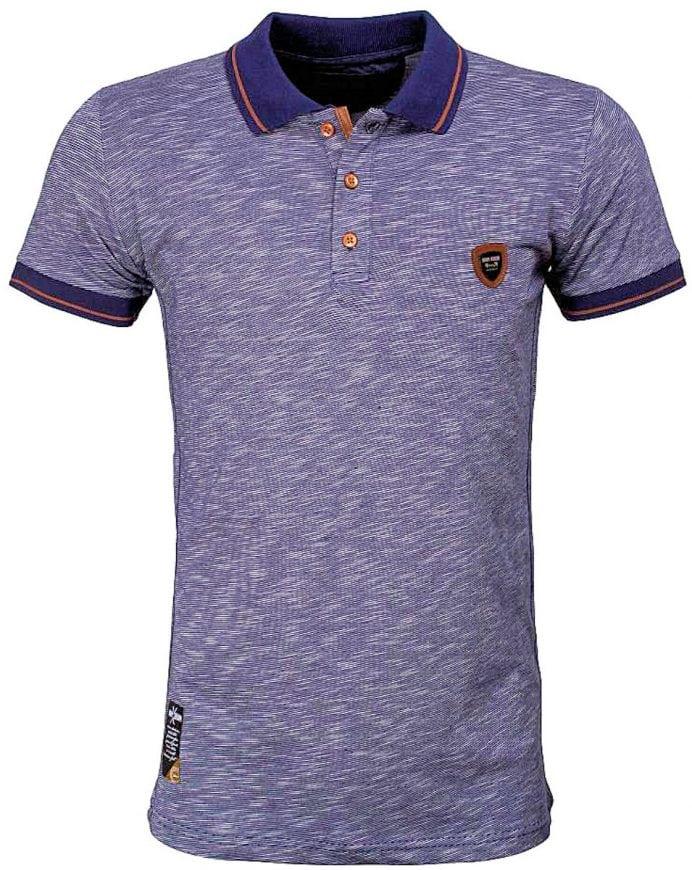 Wam Denim italiaans poloshirt gemeleerd streep blauw shirt met stretch met logo 79420 2