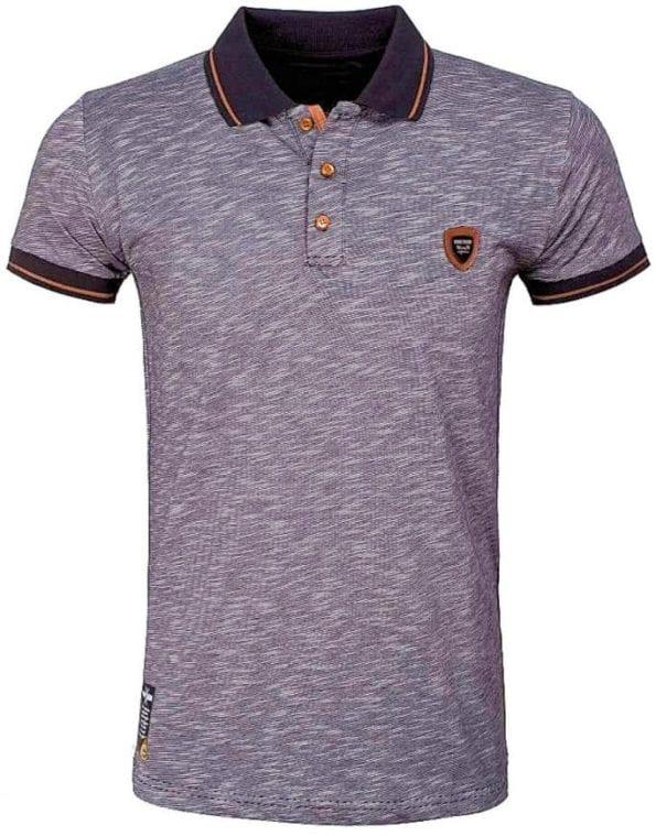 Wam Denim Italiaans poloshirt gemeleerd streep zwart shirt met stretch met logo 79420 1
