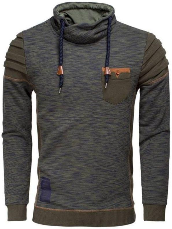 Wam Denim sweater khaki gemêleerd met sjaalkraag 76183 voorkant