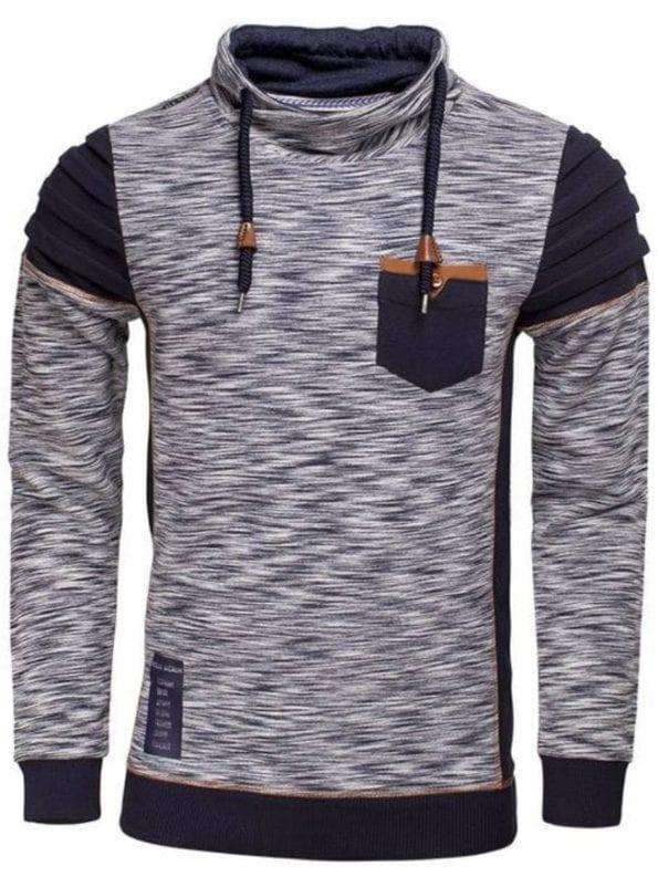 Wam Denim sweater navy gemêleerd met sjaalkraag 76183 voorkant