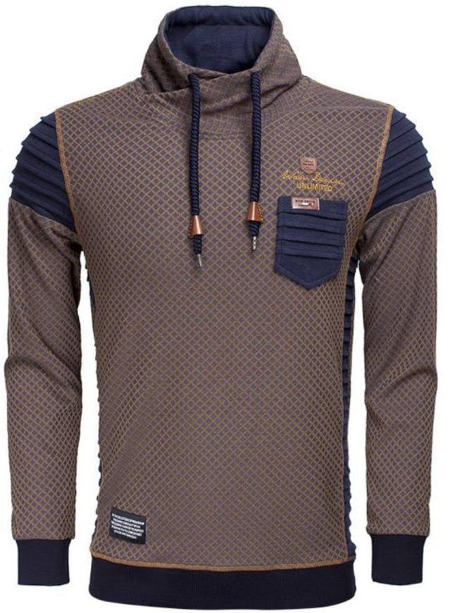Wam Denim sweater navy peru met sjaalkraag 76185 voorkant