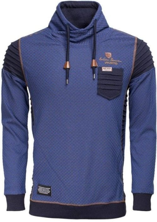 Wam Denim sweater royal blauw peru met sjaalkraag 76185 voorkant