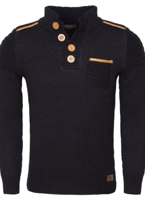 Wam Denim trui zwart grof gebreid 77206 voorkant