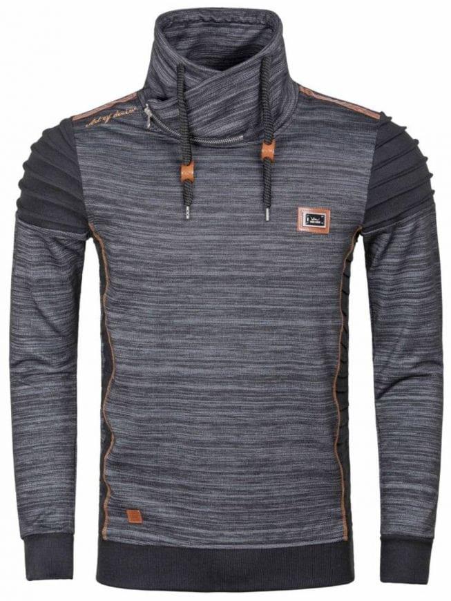 Wam Denim zwarte heren trui met hoge kraag sjaalkraag trui Fargo 76190 1