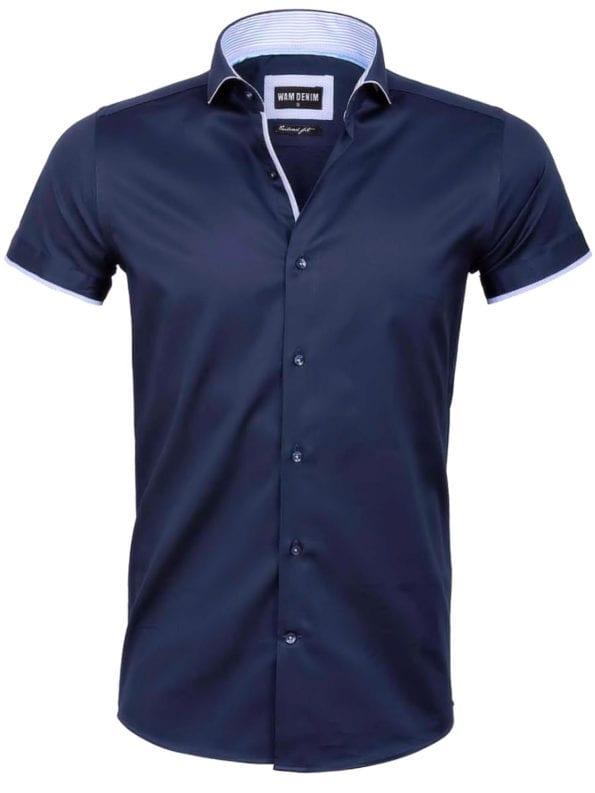 Wam denim overhemd korte mouw blauw cut away boord 75576 voorkant