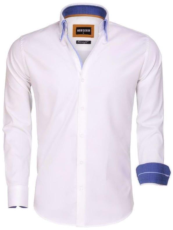 Wit Wam Denim heren overhemd Lange mouw dubbele boord 100 katoen Agrigento 75546 voorkant