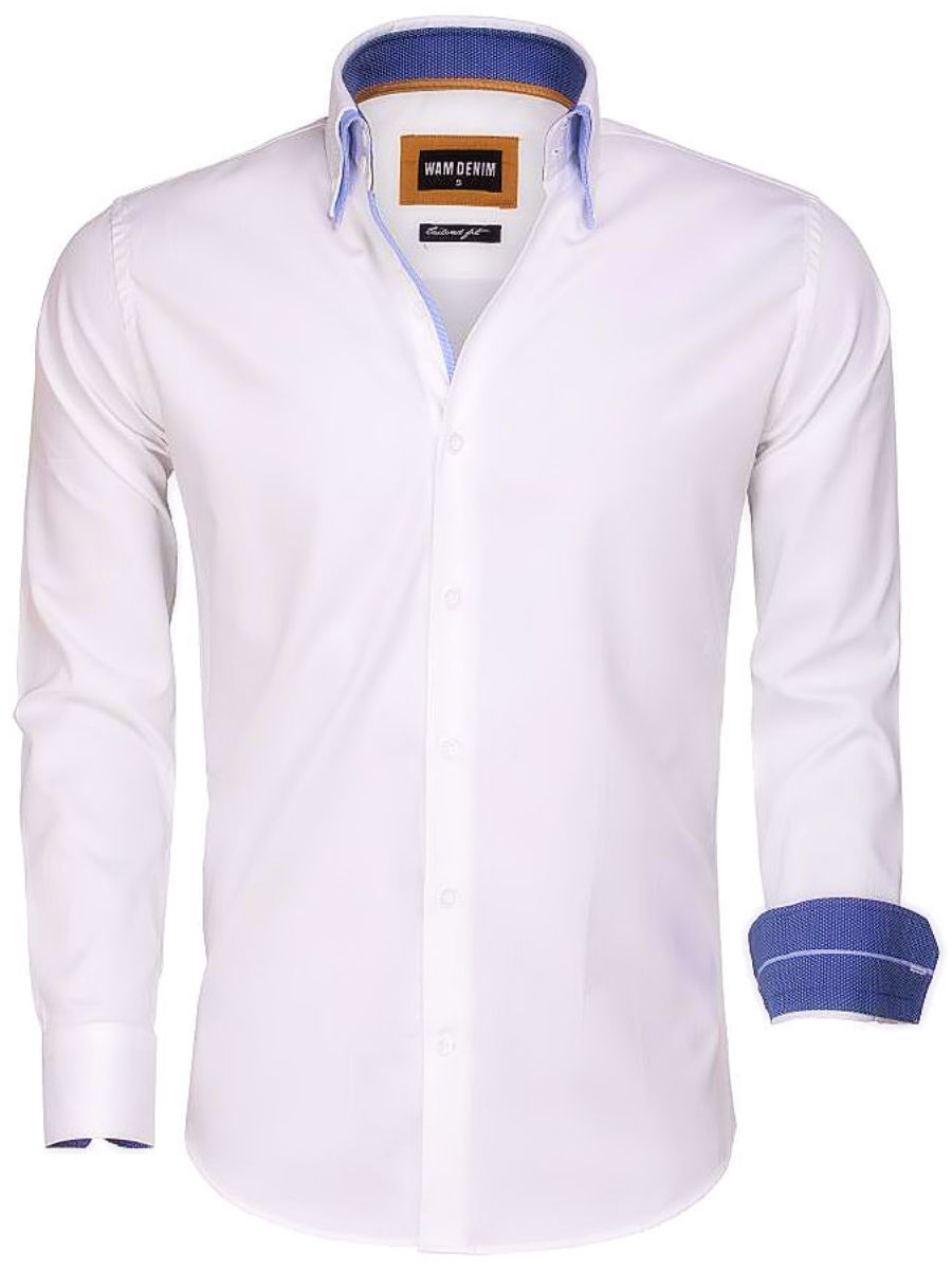 Heren Overhemd Wit.Wam Denim Overhemd Wit Dubbele Boord 75546 Bendelli