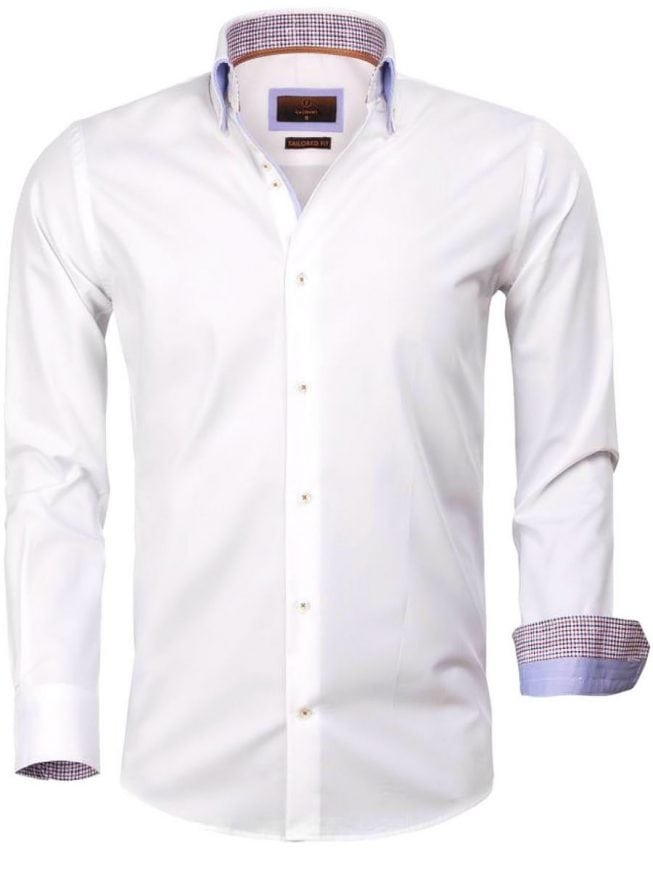 Heren Overhemd Wit.Gaznawi Heren Overhemd Dubbele Kraag Wit 65005 Bendelli