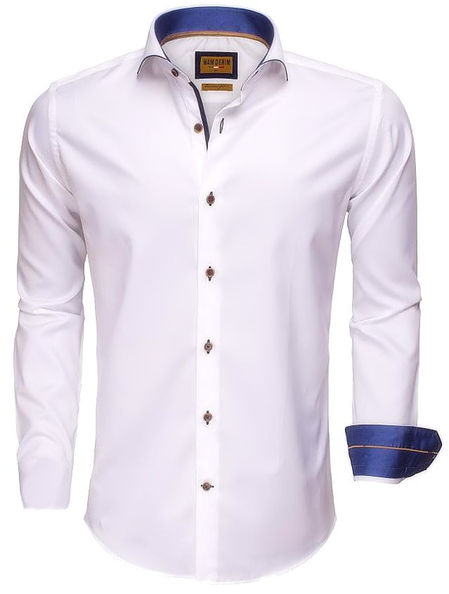 Italiaans Overhemd Heren.Wam Denim Italiaans Overhemd Enkele Boord Wit 75508 Bendelli