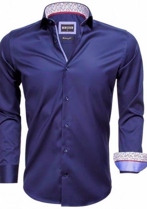 heren overhemd blauw wam denim overhemd italiaans blouse gewerkte boord langemouw 75534 cutaway boord3