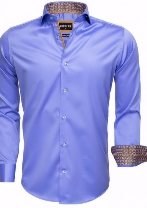 heren overhemd blauw wam denim overhemd italiaans blouse langemouw 75535 cutaway boord3