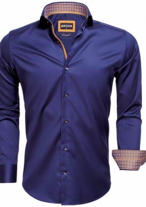 heren overhemd donkerblauw wam denim overhemd italiaans blouse langemouw 75535 cutaway boord3 kopie