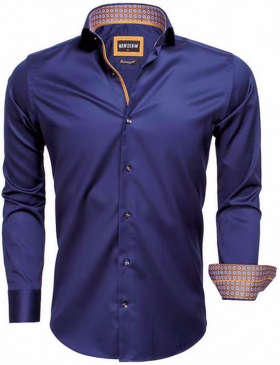 Donkerblauw Heren Overhemd.Wam Denim Italiaans Overhemd Enkele Boord Donkerblauw 75535 Bendelli
