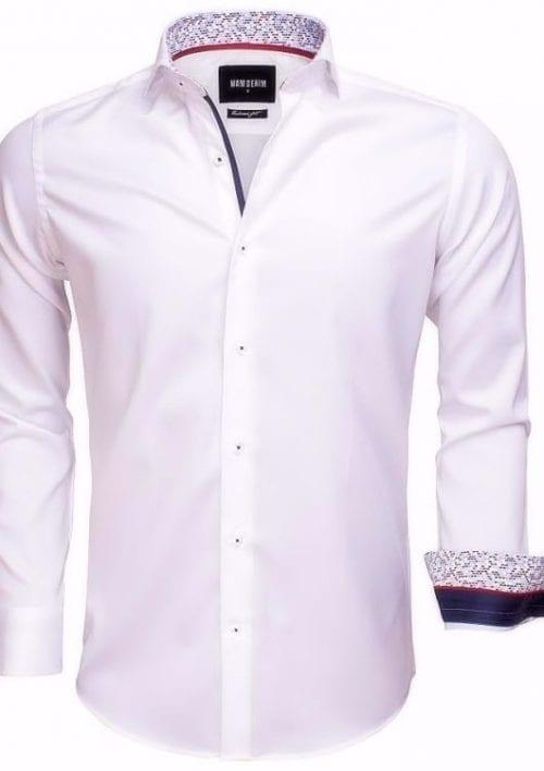 heren overhemd wit wam denim overhemd italiaans blouse gewerkte boord langemouw 75534 cutaway boord3