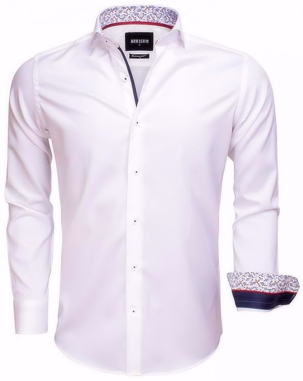 Italiaans Overhemd Heren.Wam Denim Italiaans Overhemd Enkele Boord Wit 75534 Bendelli