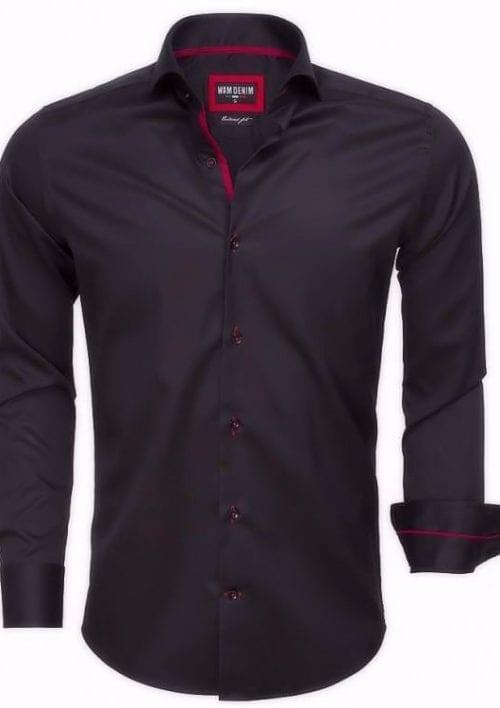 heren overhemd zwart cut away boord wam denim overhemd langemouw 75525 bendelli3