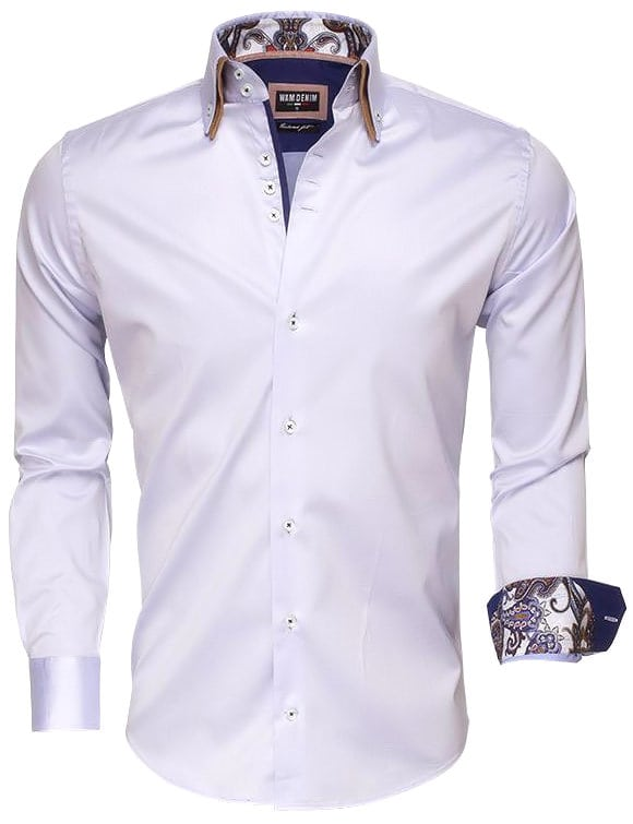 Italiaans Overhemd Heren.Wam Denim Italiaans Overhemd Dubbele Boord Blauw 75497 Bendelli