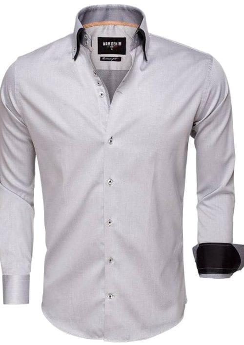 wam denim Italiaans heren overhemd grijs gewerkt dubbele boord tailored fit 75499 3