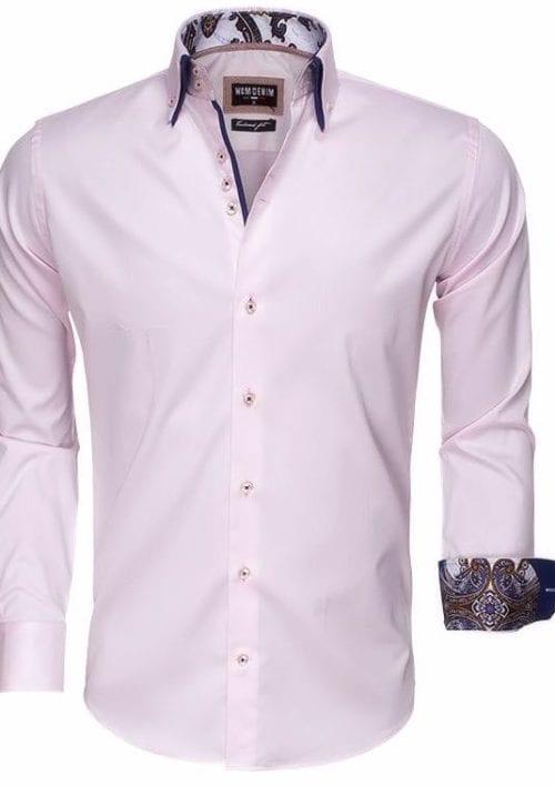 wam denim Italiaans heren overhemd roze dubbele boord tailored fit 75497 3