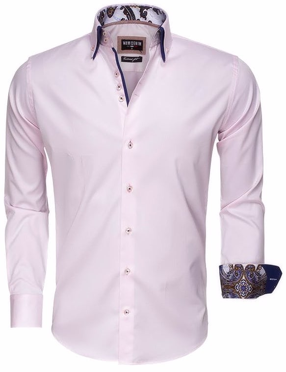 Roze Heren Overhemd.Wam Denim Italiaans Overhemd Dubbele Boord Roze 75497 Bendelli