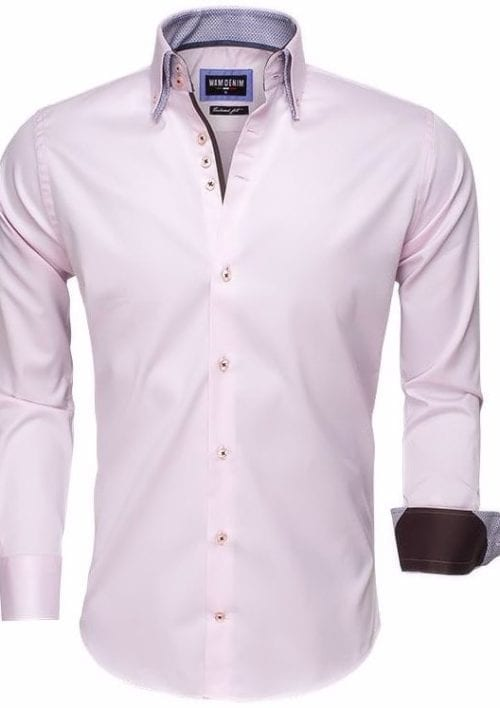 wam denim Italiaans heren overhemd roze dubbele boord tailored fit 75498 3