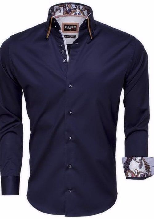 wam denim heren italiaans overhemd blauw dubbele kraag slimfit 75497 3