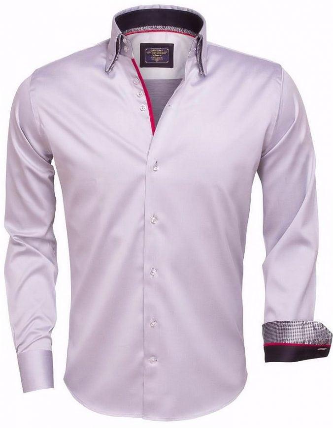 Grijs Overhemd Heren.Wam Denim Italiaans Overhemd Dubbele Boord Grijs 75386 Bendelli