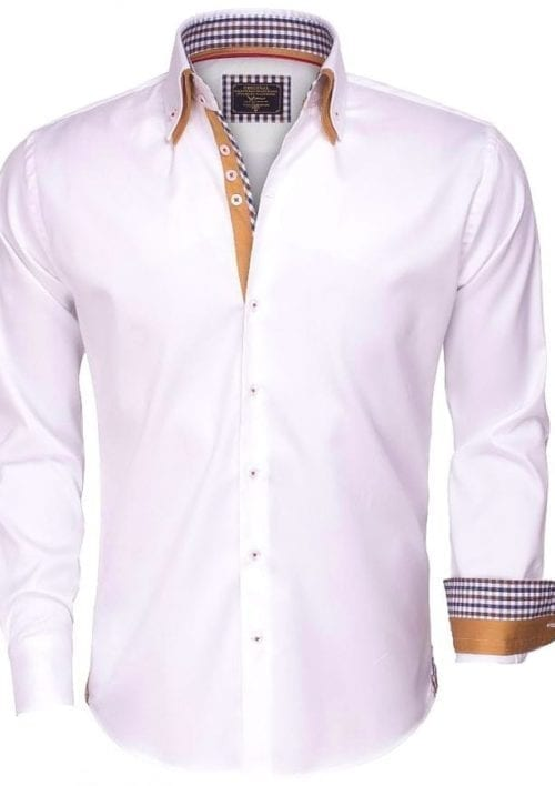 wam denim heren overhemd lange mouw dubbele boord 75352 wit 2
