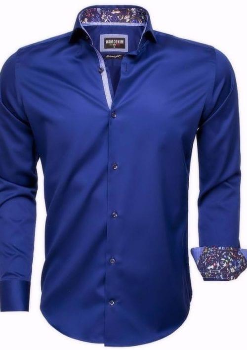 wam denim heren overhemd langemouw cut away boord bloemetjes motief in kraag blauw 75525 3