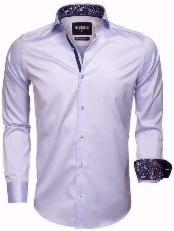 wam denim heren overhemd langemouw cut away boord bloemetjes motief in kraag lichtblauw 75525 2