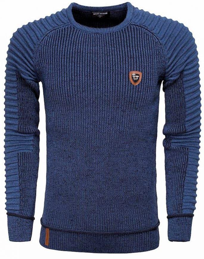 wam denim heren truien ronde hals77223 blauw geribt motief logo op linkerborst 2
