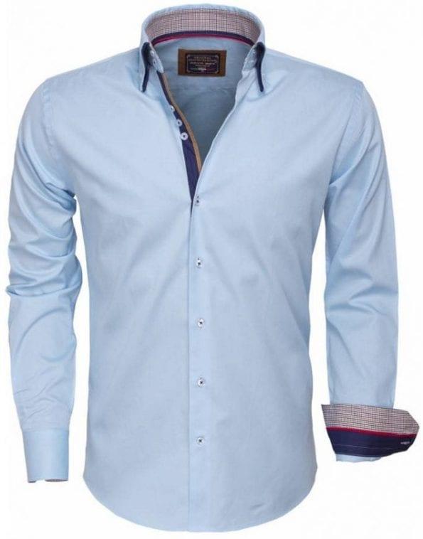wam denim overhemd 85253 turquoise