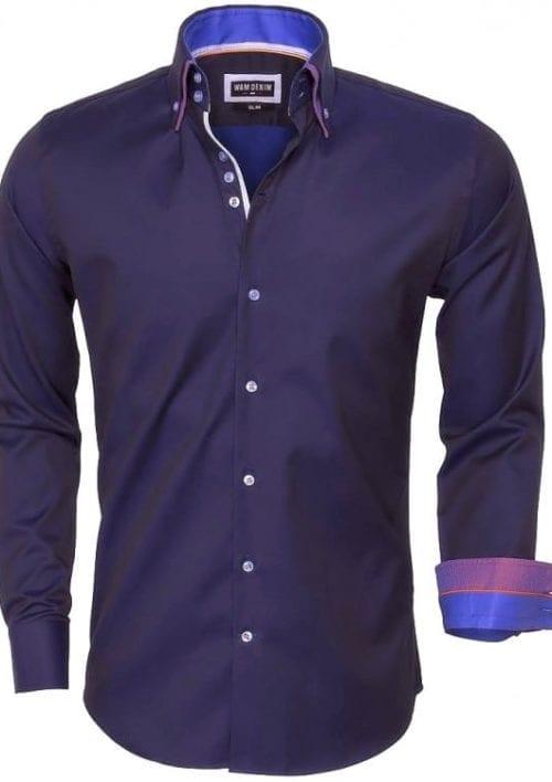 wam denim overhemd lange mouw 75423 dark navy 14