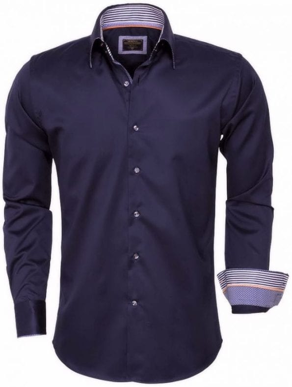 wam denim overhemd lange mouw 75443 navy
