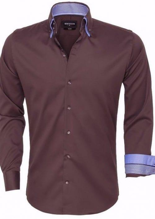 wam denim overhemd lange mouw 75445 brown