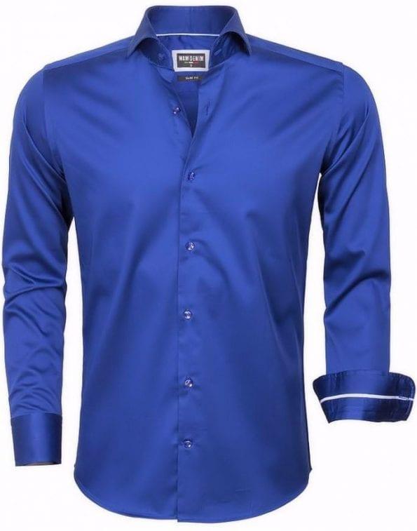 wam denim overhemd lange mouw 75478 royal blue
