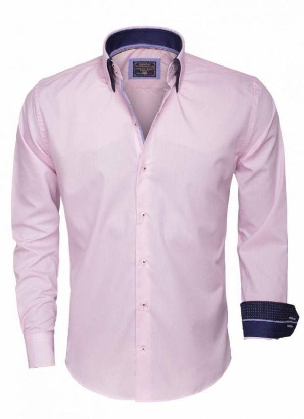 wam denim overhemd lange mouw 85259 pink