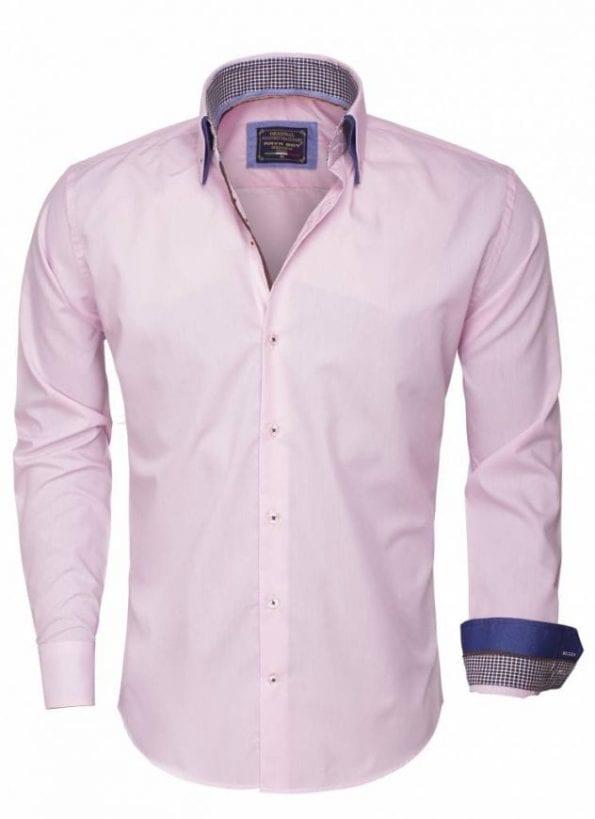 wam denim overhemd lange mouw 85260 pink